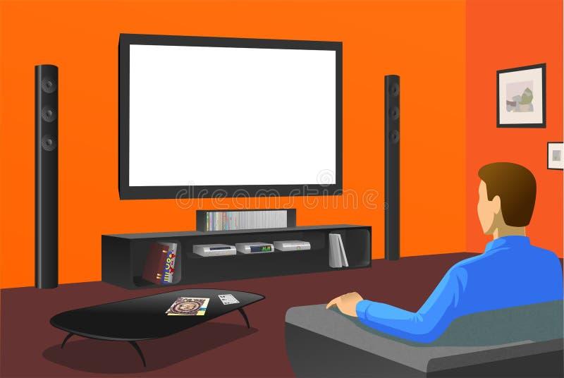 TV van het horloge in oranje ruimte vector illustratie