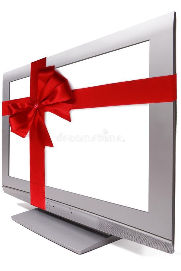 TV van het plasma IN een GIFT stock afbeeldingen