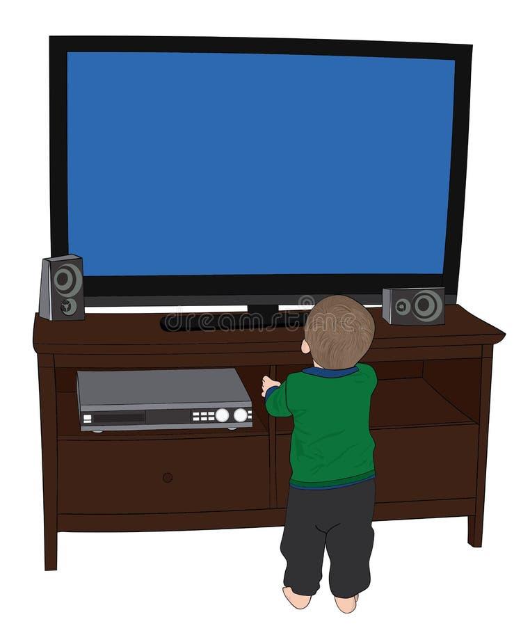 TV van Little Boy Wathing terwijl zeer dicht Status stock fotografie