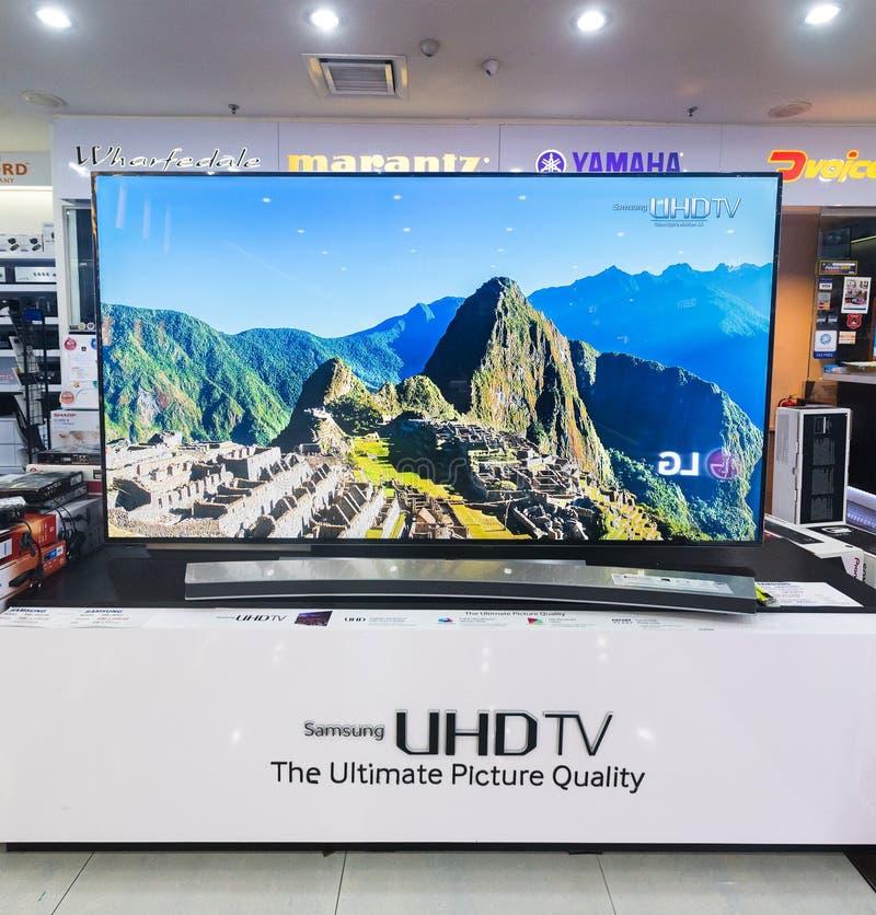 TV van Samsung UHD in Laag Yat-Plein, Kuala Lumpur, Maleisië stock afbeelding