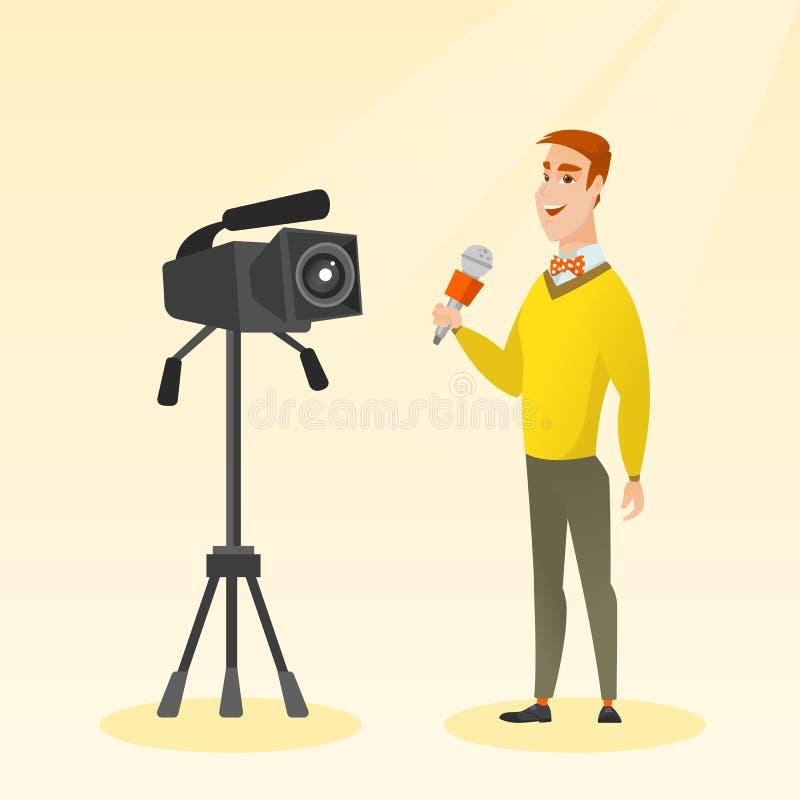 TV-verslaggever met een microfoon en een camera royalty-vrije illustratie