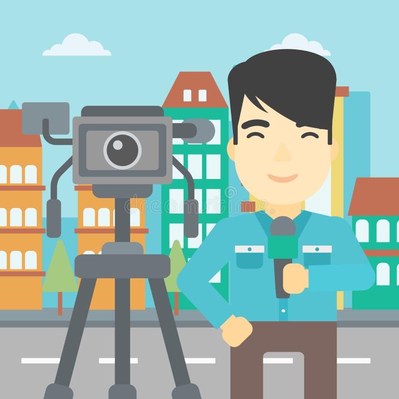 TV-verslaggever met microfoon en camera royalty-vrije illustratie