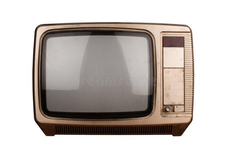TV vieja aislada en blanco fotografía de archivo