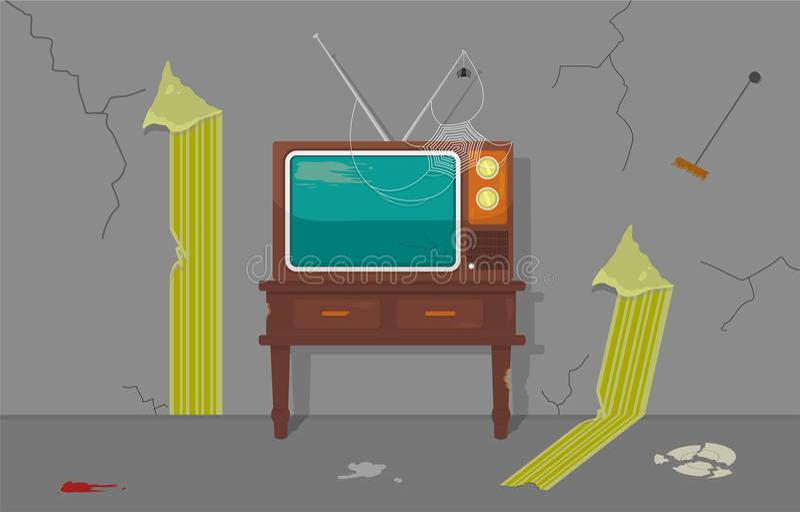 TV vieja en casa vieja stock de ilustración