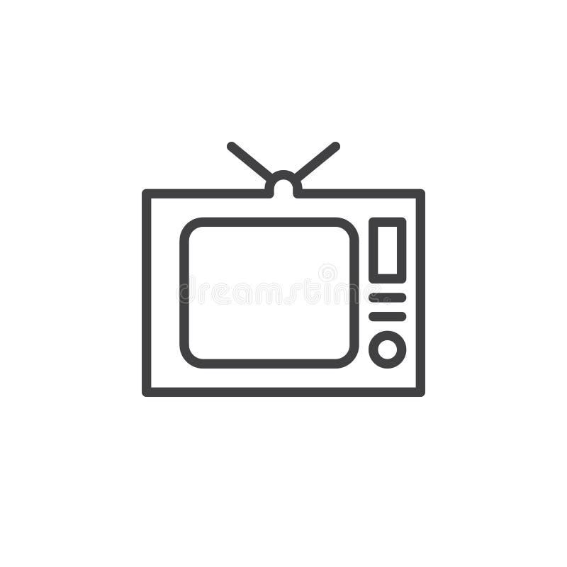 TV vieja, línea icono, muestra del vector del esquema, pictograma linear de la televisión del estilo aislado en blanco stock de ilustración