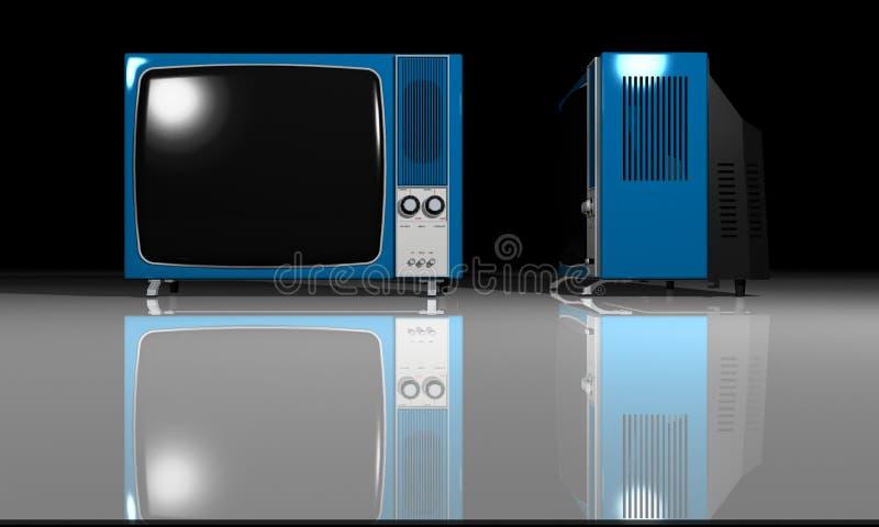 TV vieja - televisión azul stock de ilustración