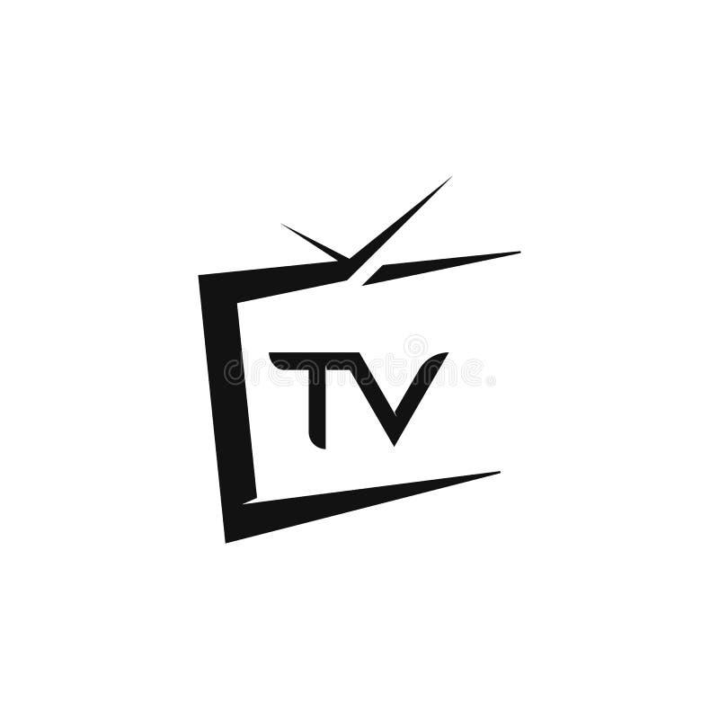 TV-vlakke het pictogramillustratie van het embleemontwerp vector illustratie