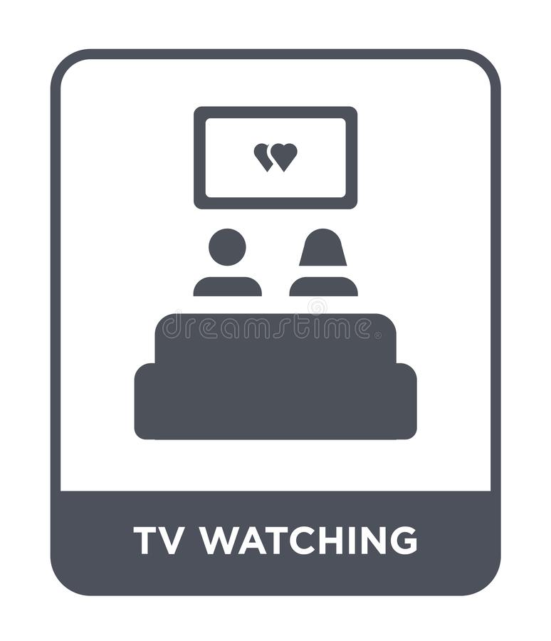 tv watching icon in trendy design style. tv watching icon isolated on white background. tv watching vector icon simple and modern royalty free illustration