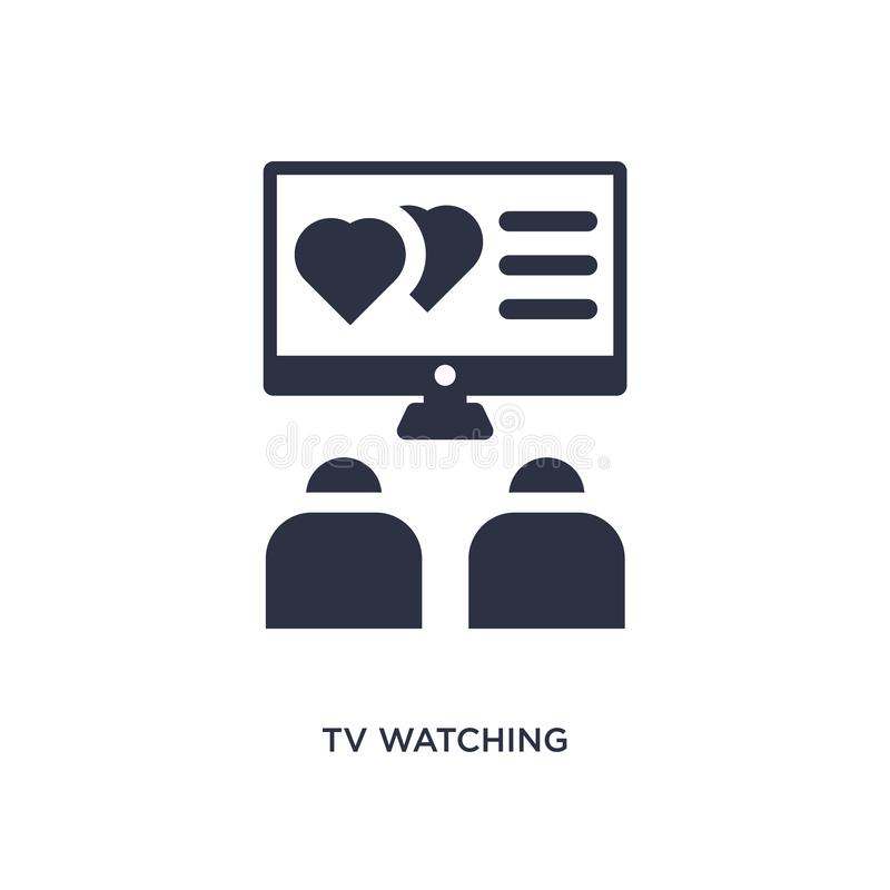 tv watching icon on white background. Simple element illustration from love & wedding concept royalty free illustration