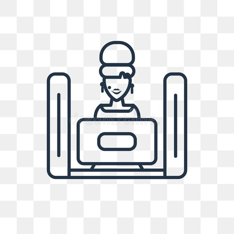 Tv watching vector icon isolated on transparent background, line stock illustration