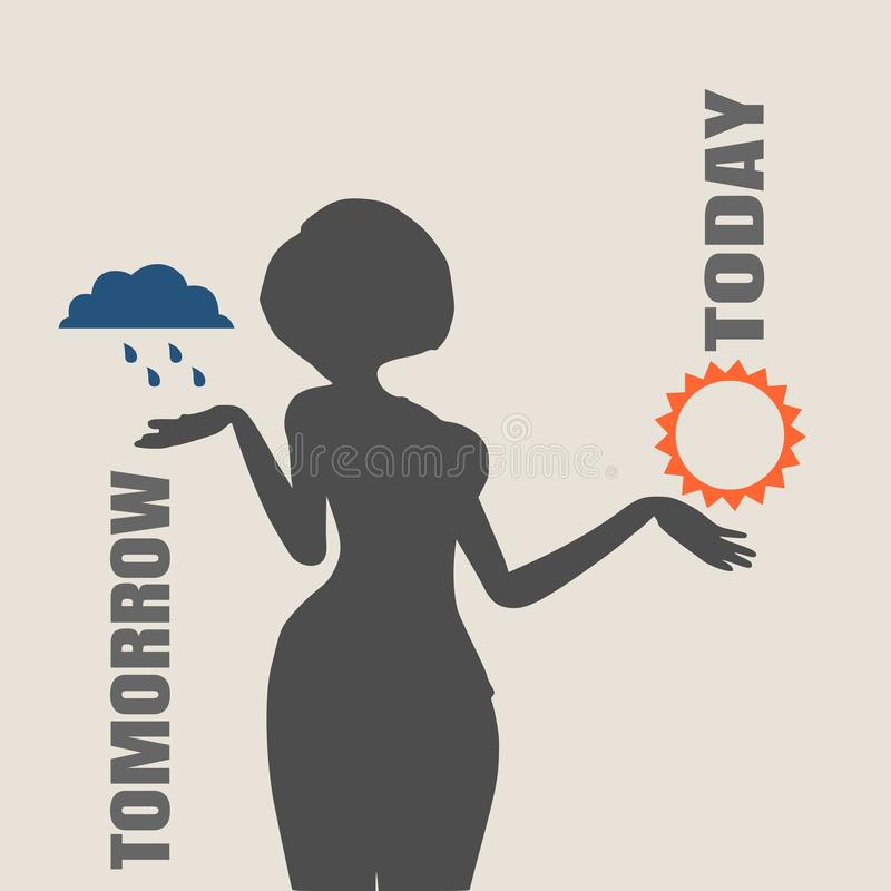 TV weather reporter at work stock illustration