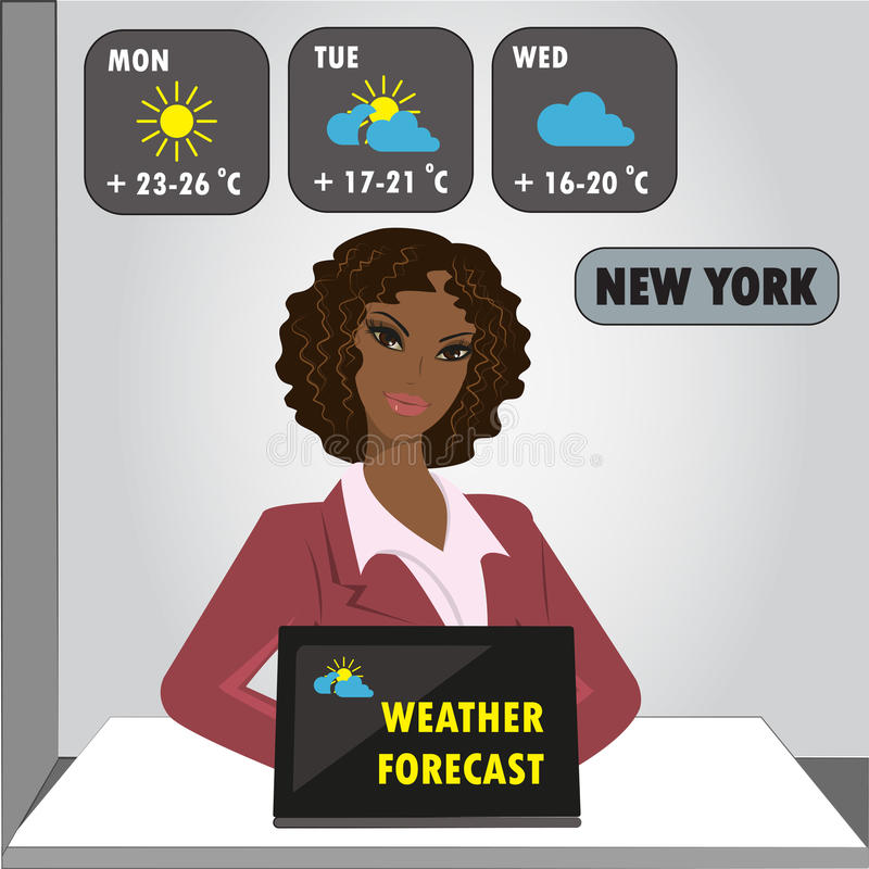 TV weather reporter at work, stock illustration
