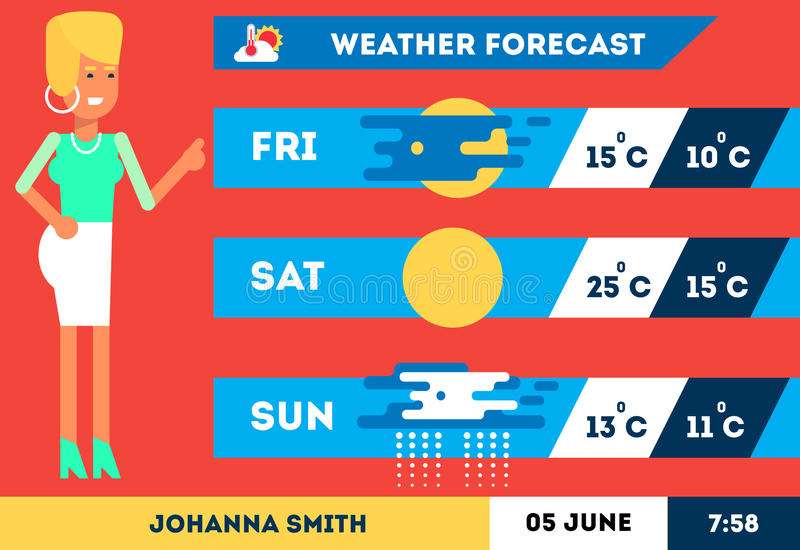 TV weather woman reporter stock illustration