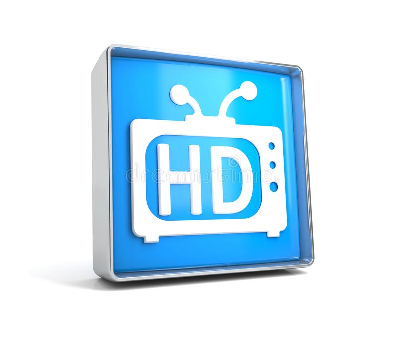 TV - web button isolated on white background. 3d image renderer royalty free illustration