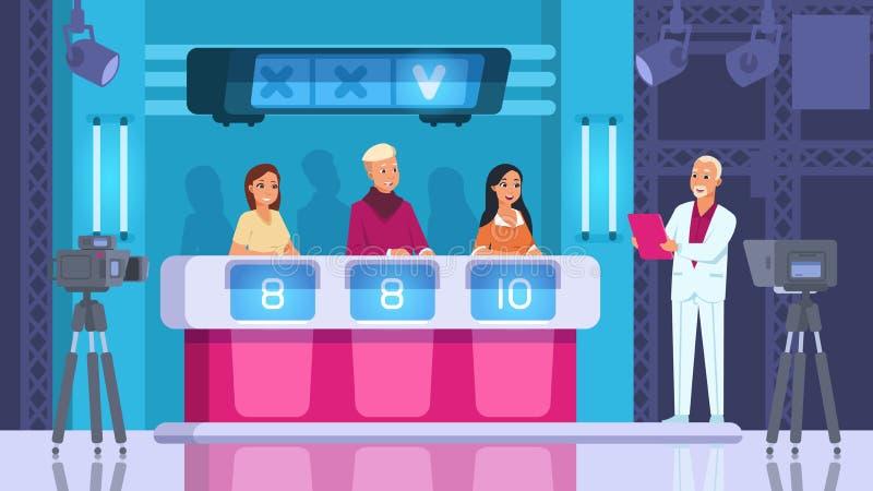 TV-Wettbewerb Cartoon Wort-Wettkampf mit Teilnehmern, Backstage und Gewinner Vector-Szene mit Kameras und Licht lizenzfreie abbildung