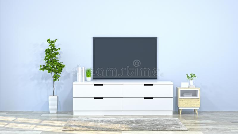 Tv with white cabinet in the room 3d illustration furniture,modern home designs,background shelves and books on the desk in front. Of clean wall royalty free illustration