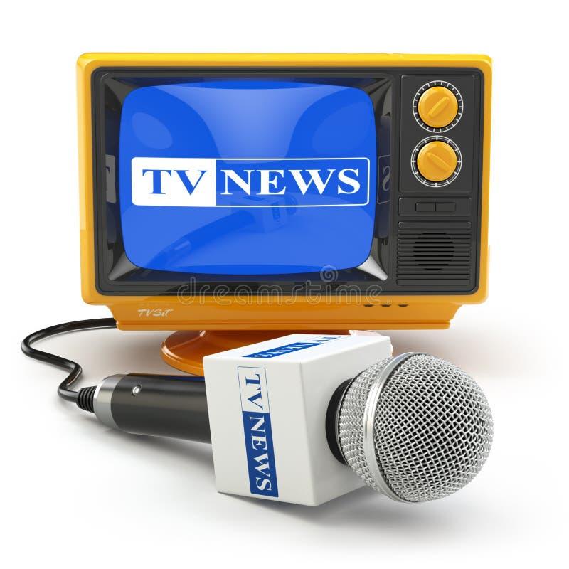 Tv wiadomość lub raportu pojęcie Mikrofon i telewizja royalty ilustracja