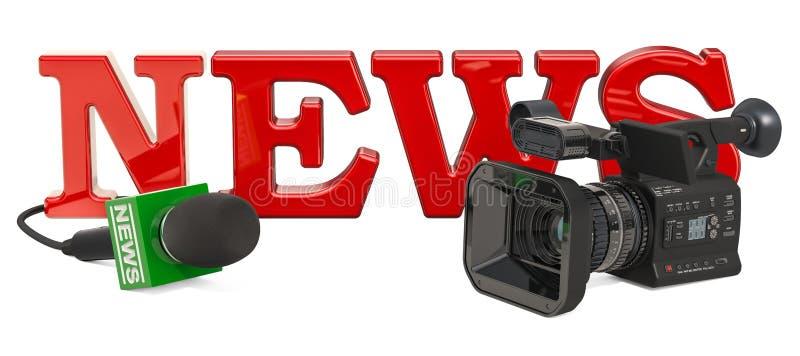 TV wiadomości pojęcie z kamerą telewizyjną i mikrofonem świadczenia 3 d royalty ilustracja