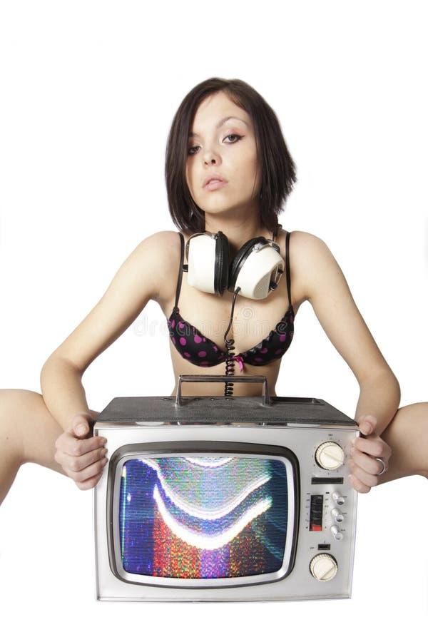 Tv woman stock photos