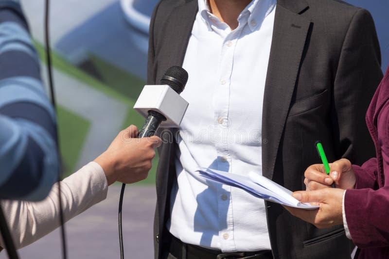 TV wywiad Konferencja prasowa dziennikarski zdjęcie stock