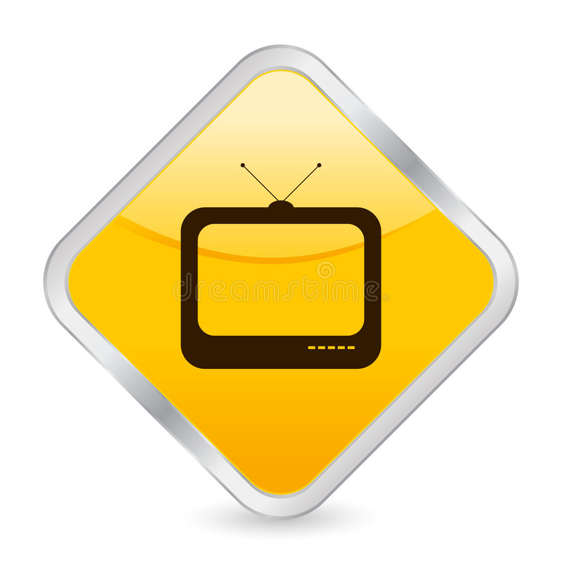Tv yellow square icon royalty free illustration