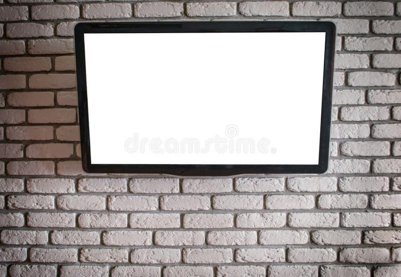 TV z białym ekranem na ścianie obrazy royalty free