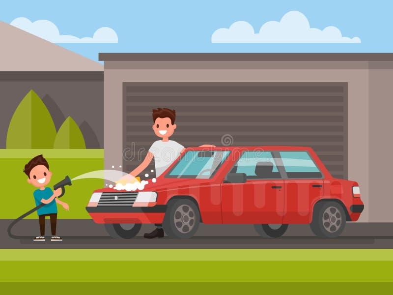 Tvagning av bilen utomhus Fadern och sonen tvättar bilen vektor royaltyfri illustrationer