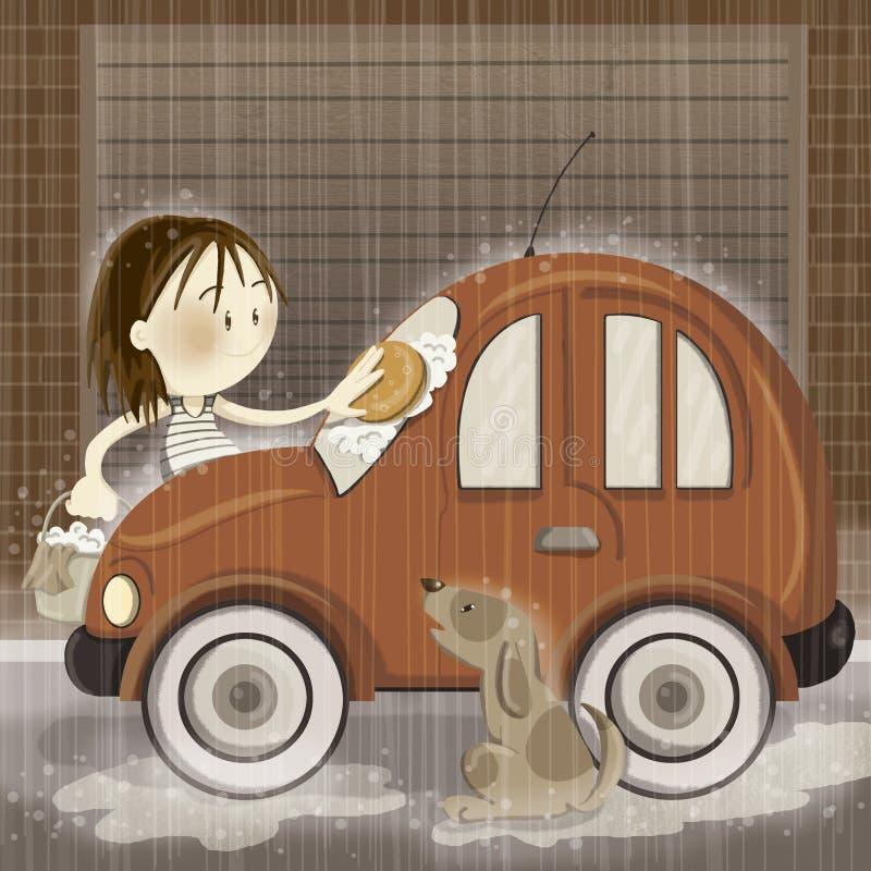Tvagning bilen royaltyfri illustrationer