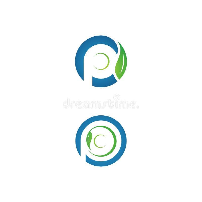 Tvagning för platta för eco för bokstav P för affär företags med bladet royaltyfri illustrationer