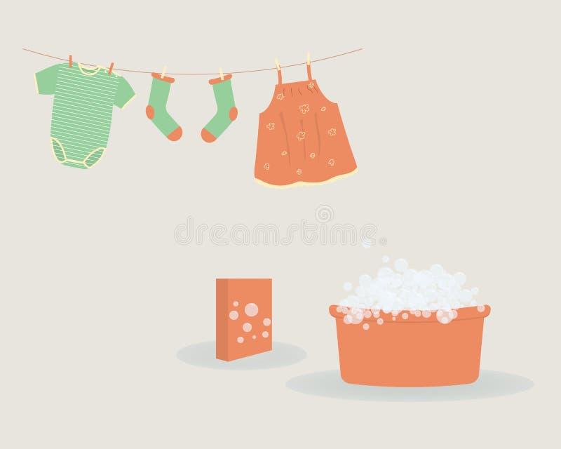Tvagning: tv?ttat behandla som ett barn gulliga Capri f?r kl?der fl?sanden, sockor, och bodysuiten som h?nger p? kl?dstreck, och  stock illustrationer
