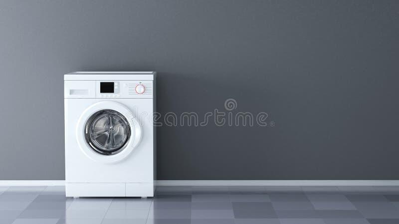 Tvagningmaskin i rum med den tomma väggen stock illustrationer