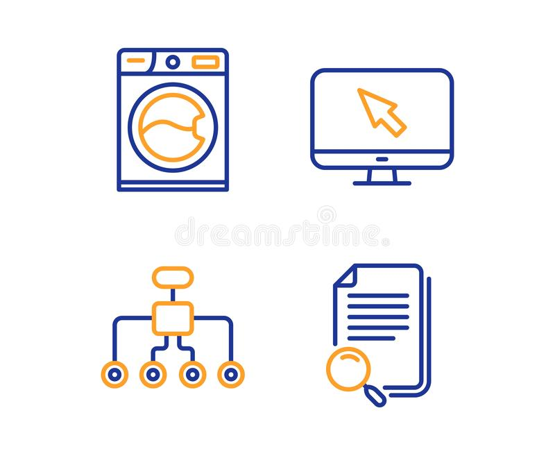 Tvagningmaskin, internet- och omstruktureringssymbolsupps?ttning S?kandemapptecken vektor vektor illustrationer