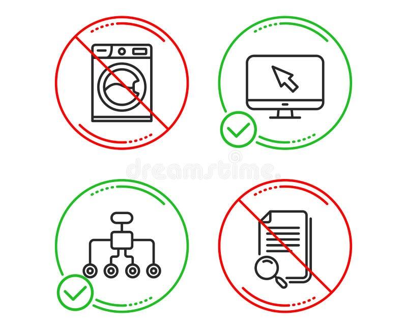 Tvagningmaskin, internet- och omstruktureringssymbolsupps?ttning S?kandemapptecken vektor royaltyfri illustrationer