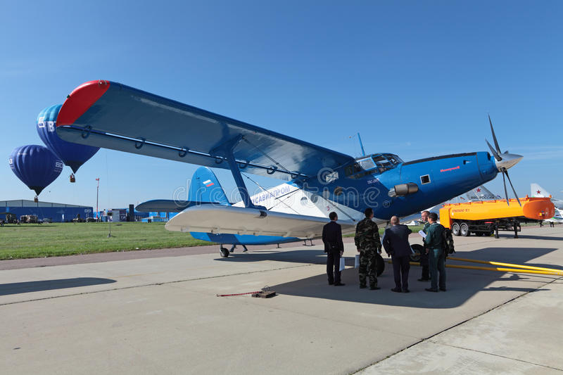 An-2 TVC-2MC. ZHUKOVSKY, RUSSIA - AUG 28, 2013: Modernized retro-plane Antonov An-2 TVC-2MC is Soviet mass-produced single-engine biplane at the International stock photo