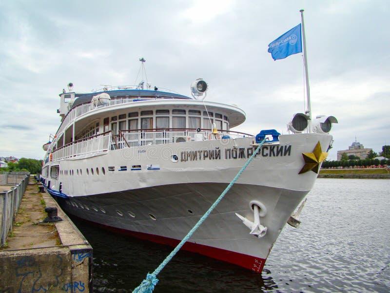 Passenger ship Dmitry Pozharsky on the Volga river. Tver. Russian Federation. June 21, 2018. Passenger ship Dmitry Pozharsky on the Volga river at the Tver pier stock images