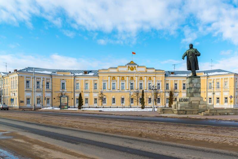 Tver Ryssland - Februari 27 2016 Administration av staden av Tver som byggs i det 18th århundradet royaltyfri foto
