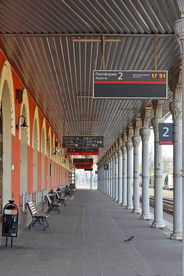 Tver Ryssland - kan 07 2017 Allmän sikt av järnvägsstationen royaltyfri bild