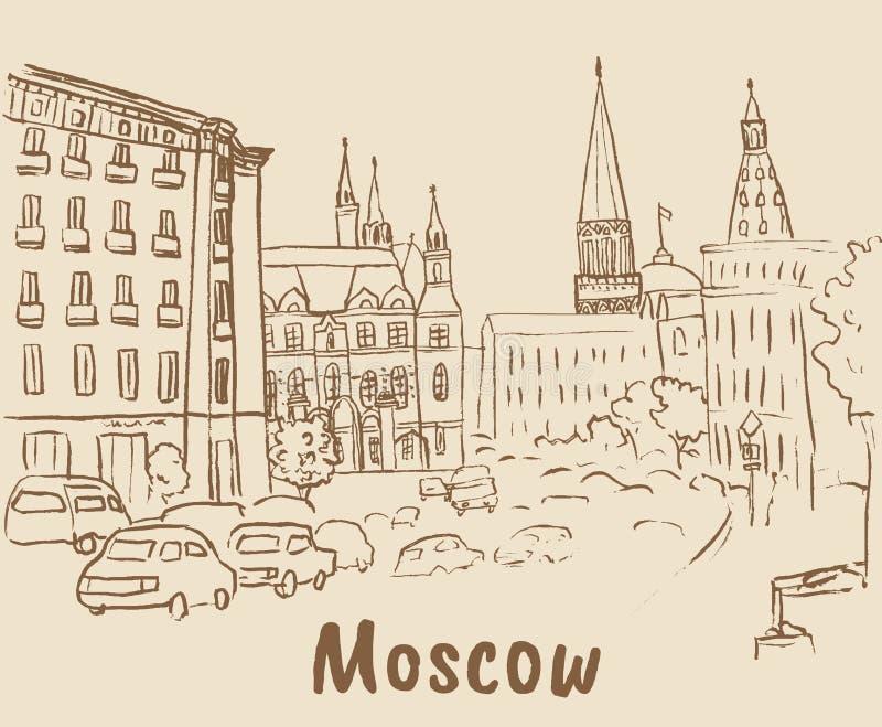 Tverskaya街道在莫斯科 皇族释放例证