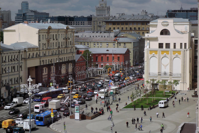 Tverskaya街道在莫斯科 免版税图库摄影