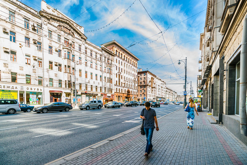 Tverskaya street (main street) of Moscow. Russia, between Tverskaya Zastava and Triumph square on Tuesday, 15 July, 2014. Almost no people in the street stock images