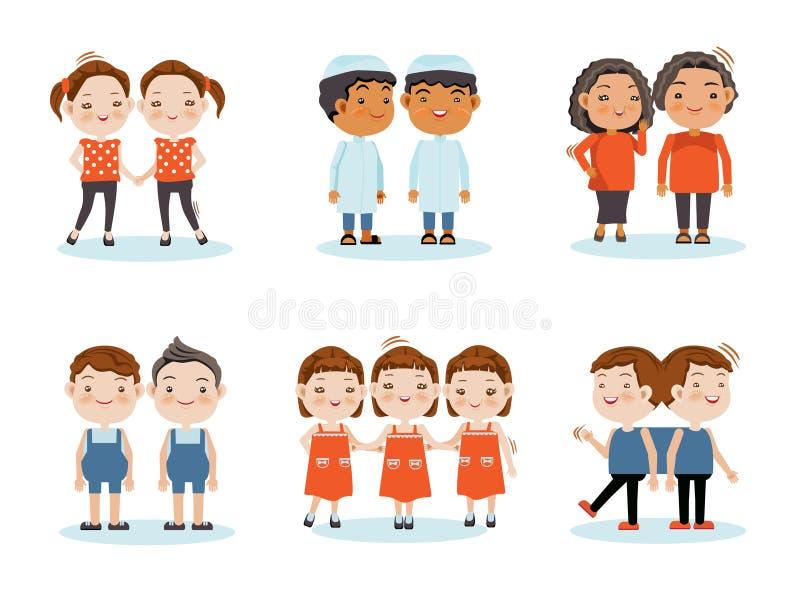 tvilling- stock illustrationer