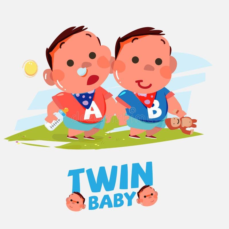 Tvilling- behandla som ett barn pojken i olikt agera - vektor illustrationer