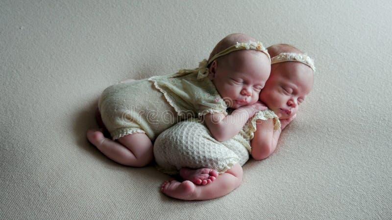 Tvilling- behandla som ett barn sömn i lathunden i klänningar fotografering för bildbyråer