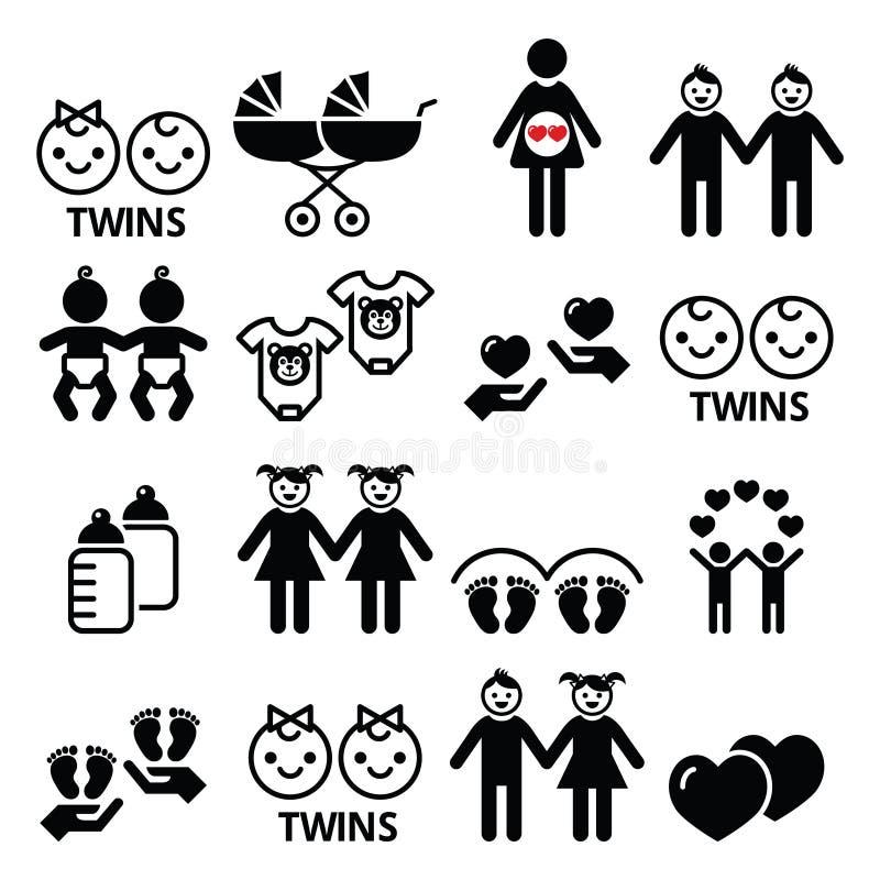 Tvilling- behandla som ett barn symboler ställer in - den dubbla pramen, den tvilling- pojken och flickadesigner royaltyfri illustrationer