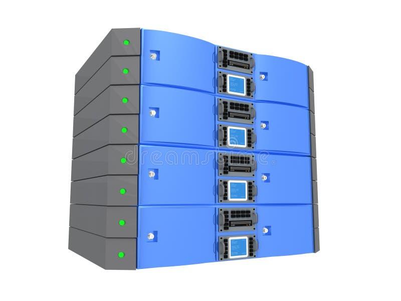 tvilling- blå server royaltyfri illustrationer
