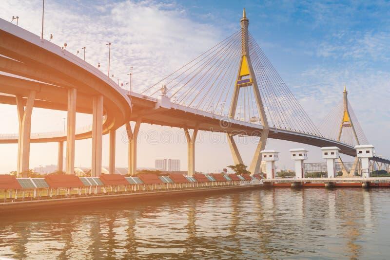 Tvilling- framdel för flod för upphängningbro royaltyfria foton