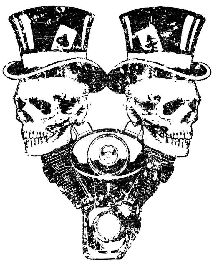 tvilling- motorscull för 02 kam stock illustrationer