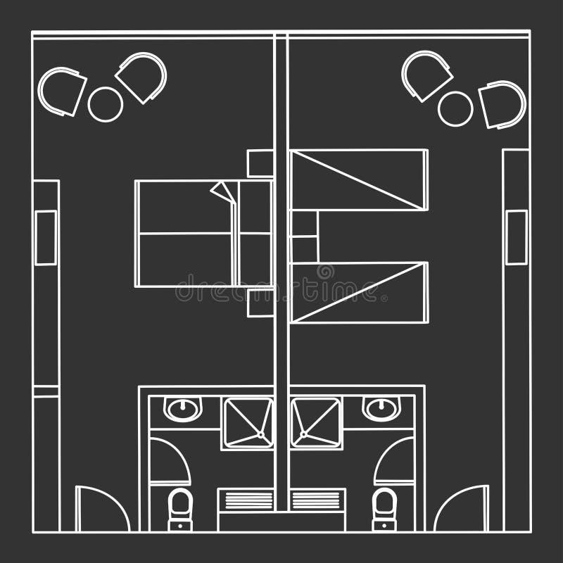 Tvilling- och dubbelt hotellrum för normal royaltyfri illustrationer