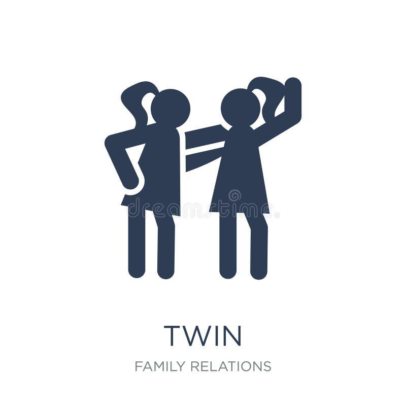 tvilling- symbol Tvilling- symbol för moderiktig plan vektor på vit bakgrund från royaltyfri illustrationer