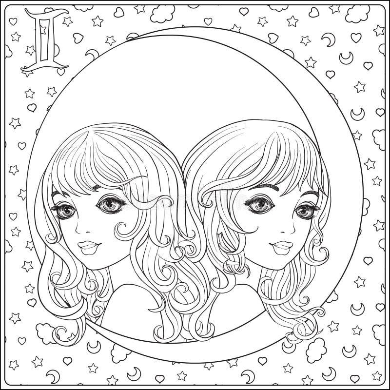 Tvillingarna kopplar samman Unga härliga flickor i formen vektor illustrationer
